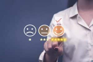 Trois smileys satisfaction consommateur