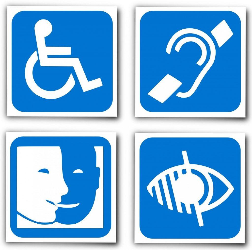 Pictogrammes des handicaps moteurs, auditifs, mentaux et visuels
