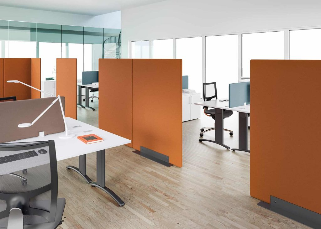 cloison de bureau accoustique orange